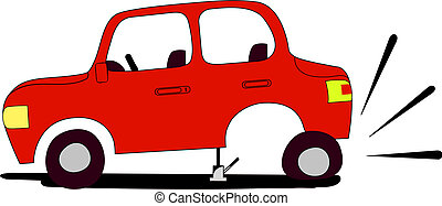 flat tire - Red car with flat tire waits assistance from...