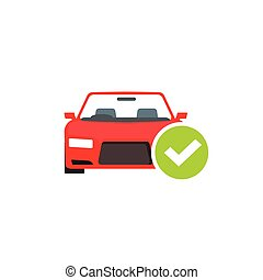 Red car with green checkmark, auto check test diagnostic concept