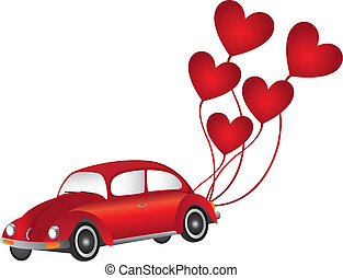 red car with heart balloons - red car with hearth balloons...