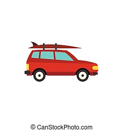 Red car with surfboard icon, flat style