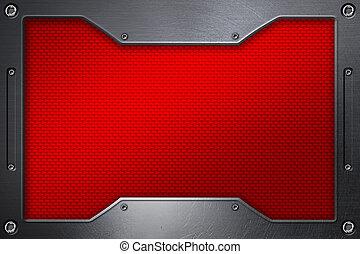 red carbon fiber background with metal frame.
