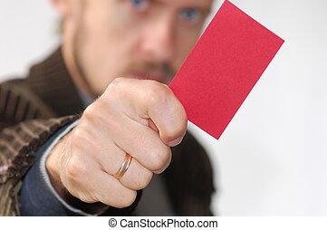 Red card - An image of men showing red card