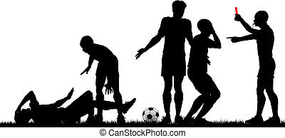 Editable vector silhouette of a referee sending off a footballer with all elements as separate objects