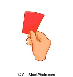 Red card football icon, cartoon style