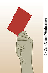 Red Card - vector of hand with red card