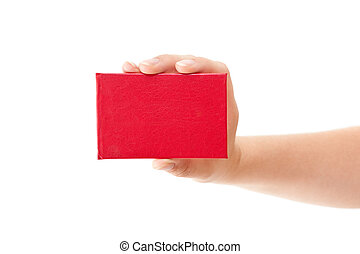Red card in human hand
