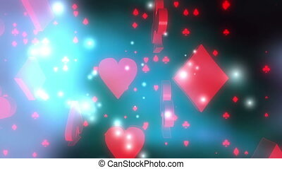 Red card suits on blue and black background with particles looping animation