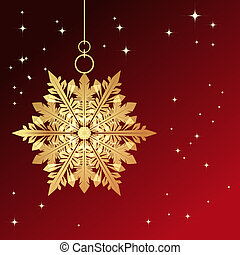 Red card with christmas snowflake