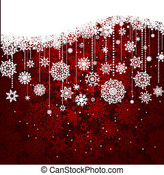 Red card with christmas snowflakes. EPS 8