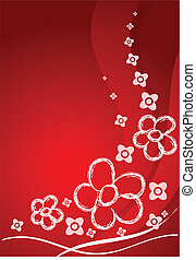 Red card with flowers and curves