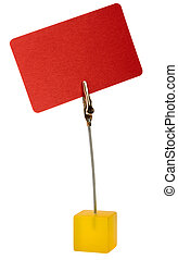 Red card with metal clip