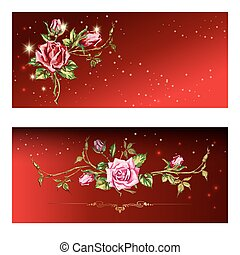 red card with roses - Drawing of bouquet of roses on red...
