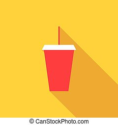 Red cardboard cup with a straw icon, flat style