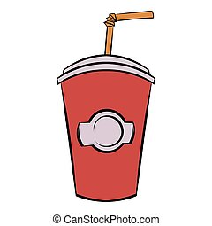 Red cardboard cup with a straw icon cartoon - Red cardboard...