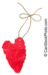 Red cardboard heart with rope and bow