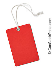 Red cardboard price or sale tag isolated