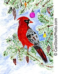 Red Cardinal Art - Cartoon red cardinal bird, illustration ...