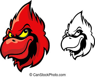 Red cardinal bird head in cartoon style for sports mascot...