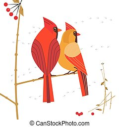 Red cardinal bird icon - Birdwatching icon. Red Northern ...