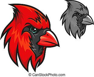 Red cardinal bird in cartoon style