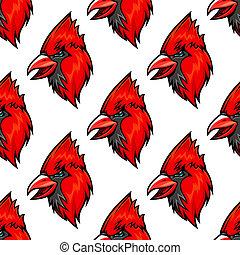 Red cardinal bird seamless pattern in cartoon style