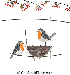 Red cardinal birds couple - Cute Robin birds couple icon. ...
