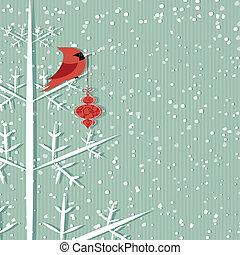Red Cardinal - Winter background with red cardinal holding...
