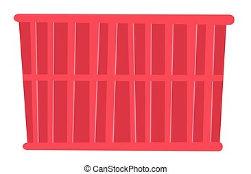 Red cargo container vector cartoon illustration.