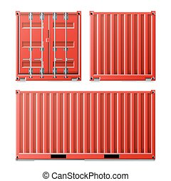 Red Cargo Container Vector. Classic Cargo Container. Freight...