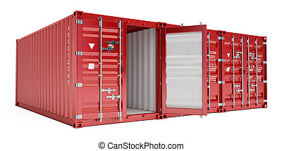 red cargo containers, 3D rendering
