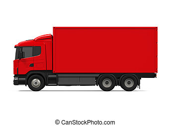 Red Cargo Delivery Truck isolated on white background. 3D...