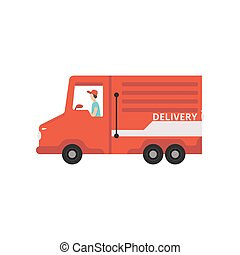 Red cargo delivery van with courier, fast shipping concept vector Illustration on a white background