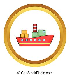 Red cargo ship vector icon