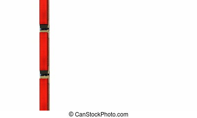 Red cargo train containers on white - Straight overhead view...