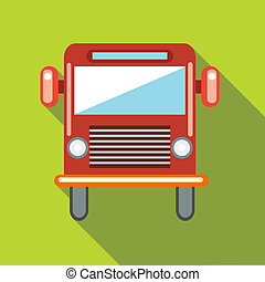 Red cargo truck icon in flat style