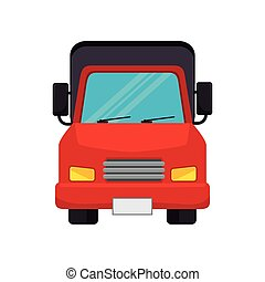 red cargo truck vehicle