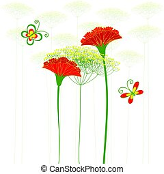 Red Carnation Flower, Dandelion and Butterfly Background