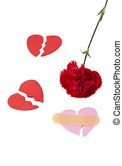 red carnation with broken  paper heart shape