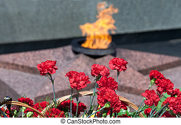 Red carnations against a background of the eternal flame