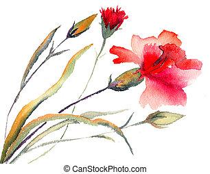 Red carnations blooming - Red carnations blooming,...