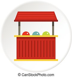 Red carnival fair booth icon circle