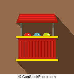 Red carnival fair booth icon, flat style