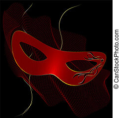 red carnival half-mask and veil - on an black background is...