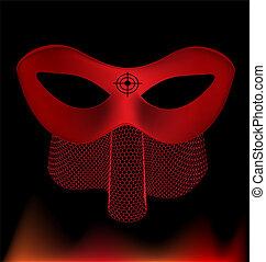 red carnival half-mask
