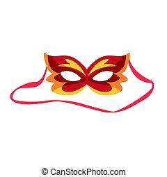 Red carnival mask, celebration party symbol cartoon vector Illustration
