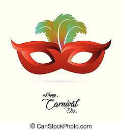red carnival mask with colorful feathers and black typography on white background