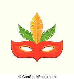 Red carnival mask with feathers, celebration party symbol vector Illustration on a white background