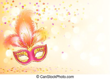 Red carnival mask with feathers on bokeh lights and confetti...