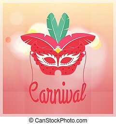 Red carnival mask with red and green feathers on light pink background with red typography