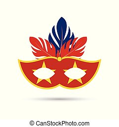 red carnival mask with yellow stars and stroke having red and blue feathers on white background